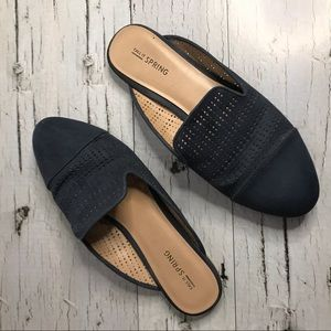 Call It Spring Navy Blue Slide on Laser Cut Mules